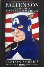 Fallen Son Death of Captain America Signed Colour Head Sketch Dave Golding